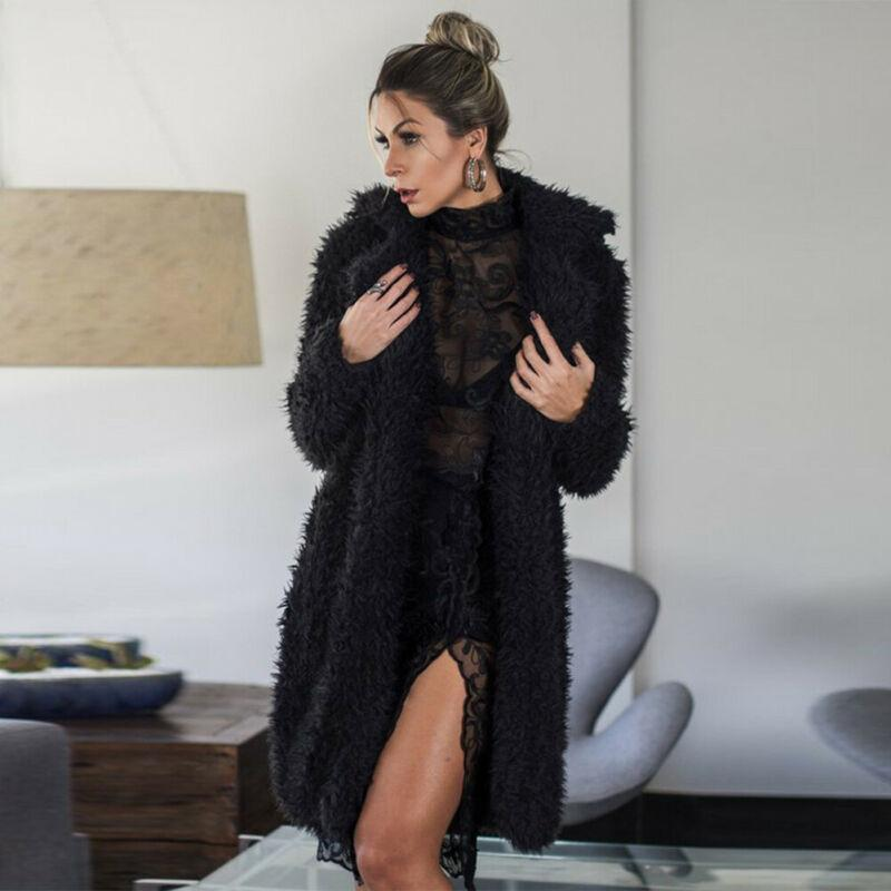 Women's Fur & Faux Women Furry Coat Winter Warm Fuzzy Fluffy Fleece Jacket Long Sleeve Female Outerwear Cardigans Overcoat 2021