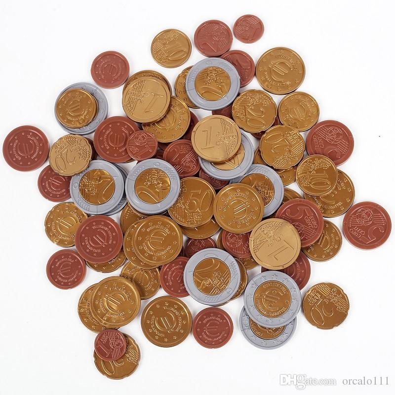 Играть Деньги Монеты SET OF 80 пластикового EURO COINS новой математики школа обучения 1/2/5/10/20/50 цента РЕСУРСЫ евро 1/2