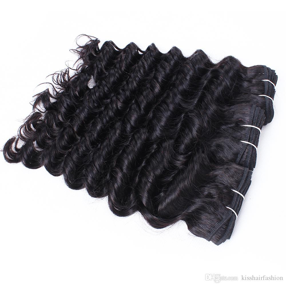 6 PCS Wholesale Onda profunda Rizado Rizado Tejido Natural Brown Sin procesar Brasileño Peruano Camboya Camboya Malasia Raw Virgin Indian Human Hair