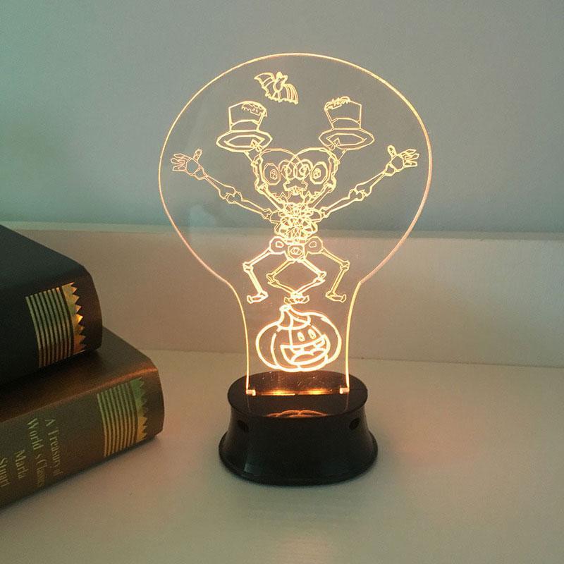 BRELONG Cadılar Bayramı Noel 3D Akrilik Gece Lambası USB Pil Küçük Masa Lambası Kişilik Gece Lambası 1 adet