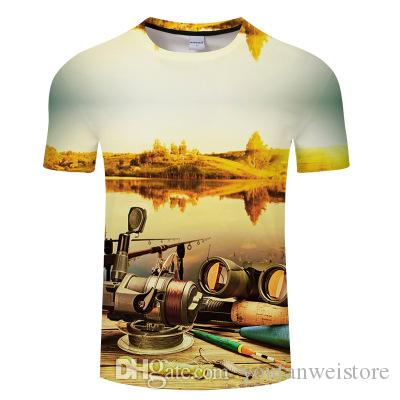Nrahbsqt 2019 новых мужчин печатных с коротким рукавом Рыбалка одежда открытый Рыбалка футболка быстро сухой дышащий Рыбалка одежда FC023