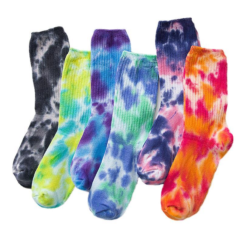 Мужские женские хлопчатобумажные носки контрастный цвет High Street Смешные велосипедные прогулки походный галстук краситель хип-хоп носки