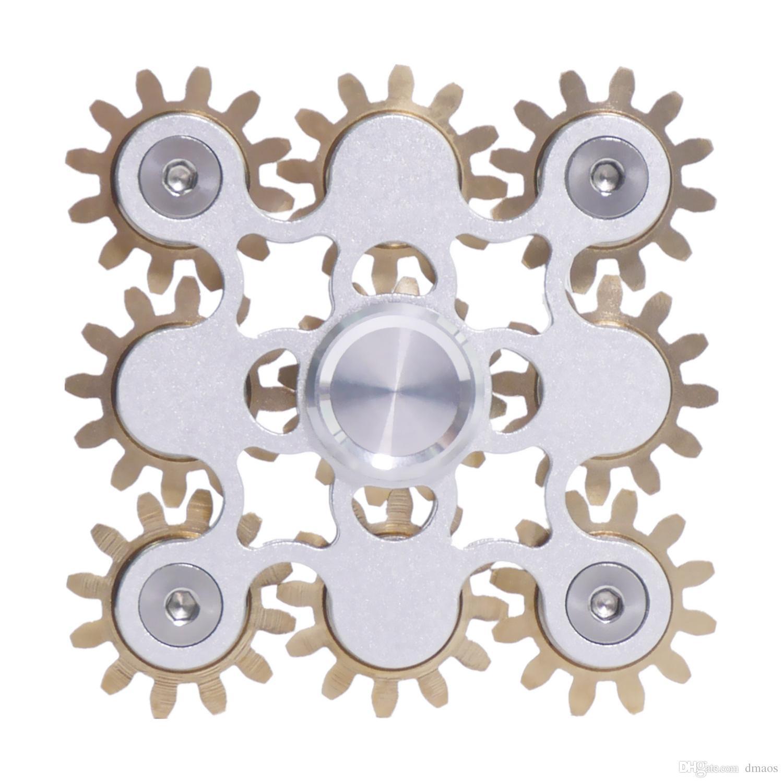 Fidget Spinner Spin 9 Engrenages Roulements Limage de liaison Fins Toy FIGITÉ SUR LA SURFACE SOUFFAIRE MÉTAL MÉTAL MÉMANIQUE DIY BOY CADEAU AVEC PACKAGE DE LUXE ENFANTS POUR ADULTAIRES