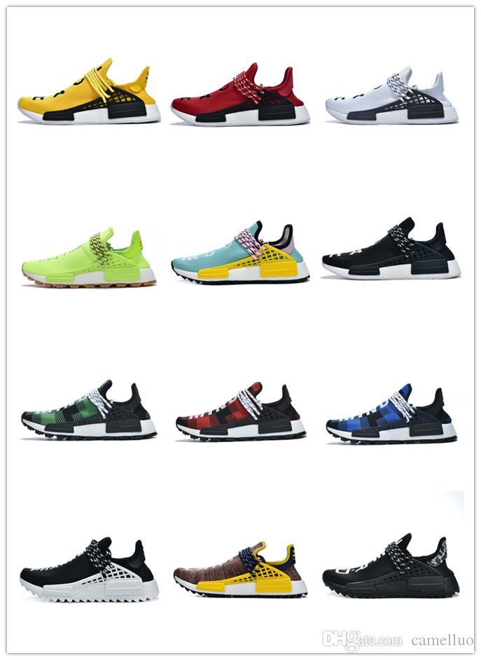 2019 human race fashion designer shoes Pharrell Williams sample yellow core black sports designer shoes women's sports shoes 36-45