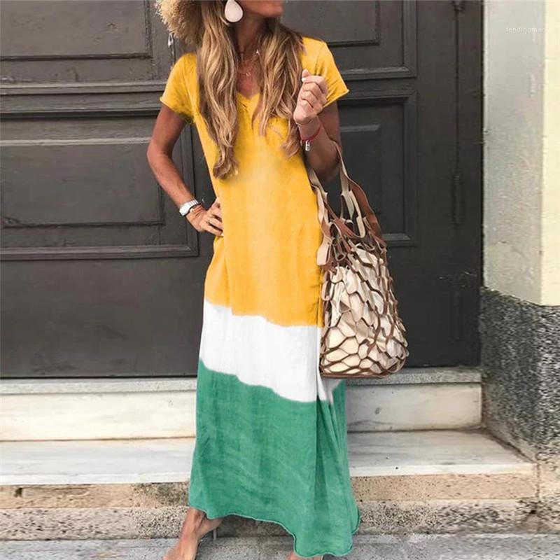 Sleeve Lange Damen Kleider beiläufige Frauen-Maxi Kleider mit V-Ausschnitt Patchwork-Farben-Frauen Kleider Sommer-Kurzschluss