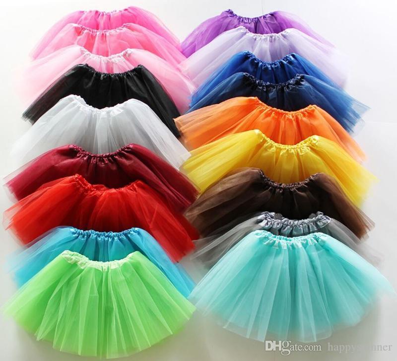 Moda de primavera y verano Falda para niños Color puro Granadina TuTu Vestido de princesa