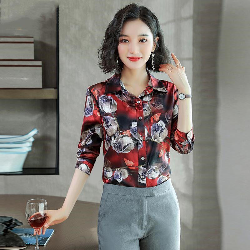 Women 2020 Spring Autumn Long Sleeve Blouses Female Turn-down Collar Blouse New Casual Tops Elegant Work Wear Chiffon Shirt Z57