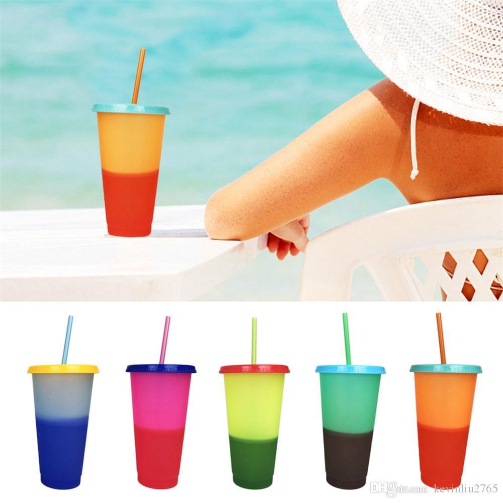 Changement de couleur Coupe Tasse magique bouteille 24 oz eau potable froide réutilisable Tumbler Avec Lids 08 Straws