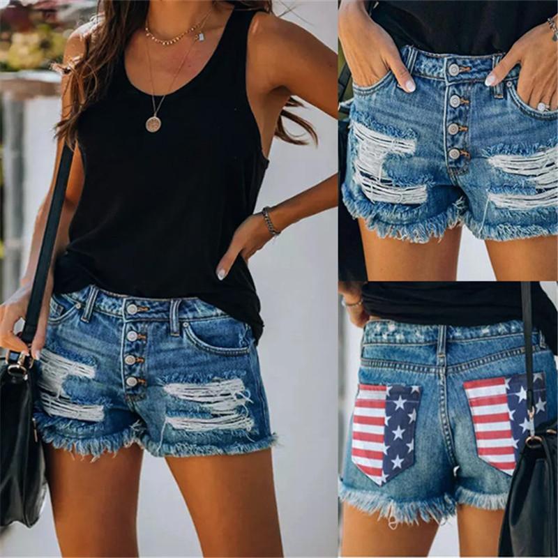 Летние женского дизайнер Коротких джинсы USA National Flag Отпечатано Hole Середина талия карманной кисточка шорты Мода Женская Одежда