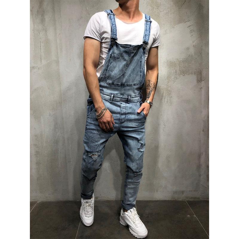 Sıcak saleMens Yırtık Kot JumpsuitsStreet Sıkıntılı Denim Önlüğü tulumları için Man Suspender Pantolon Boyut S-xxxl