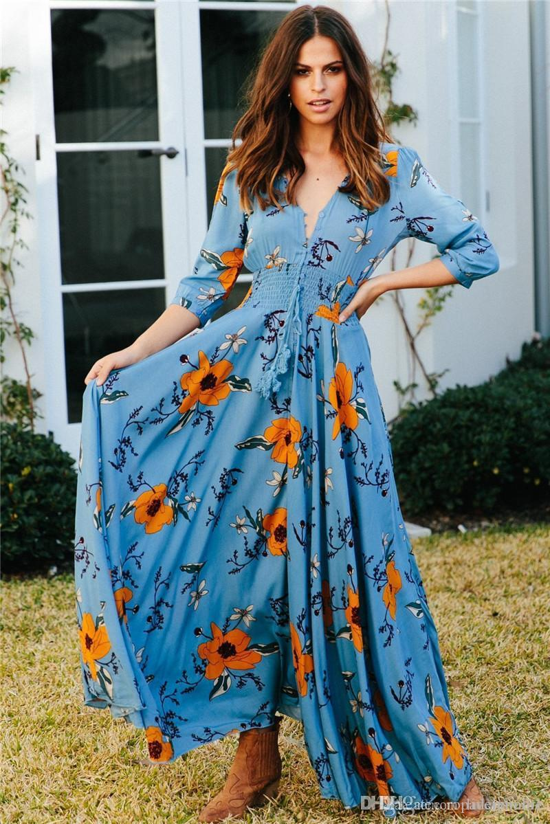 Çiçek Baskı Günlük Elbiseler Moda V Yaka Düğmeleri Kasetli Kadın Tasarımcı Bohemian Elbiseler Casual Dişiler Giyim Womens