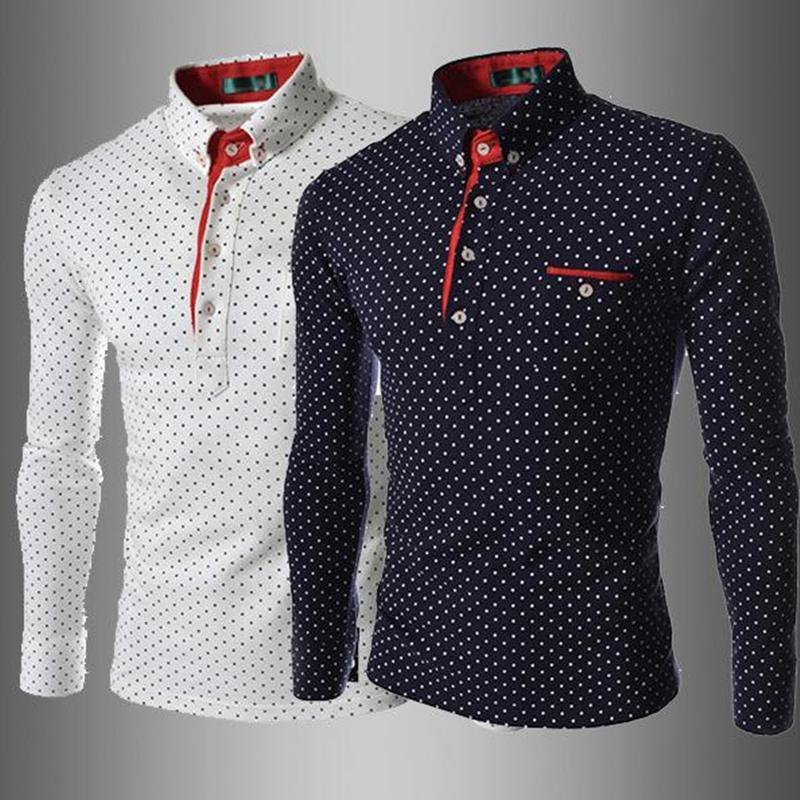 MS는 폴카 도트 티 풀오버 하나의 가슴 망을 인쇄 할 사람이 새로운 패션 긴 소매 패턴의 셔츠 무료 배송 티셔츠