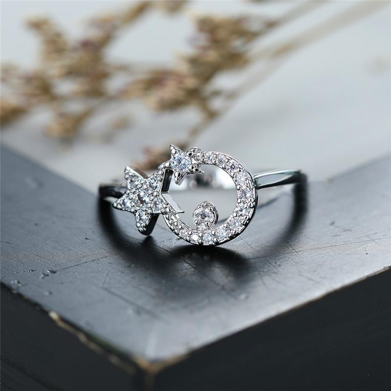 Sevimli Kadın Küçük Ay Yıldız Yüzük Şık Promise Alyans Kadınlar Charm 925 gümüş Love nişan yüzüğü için