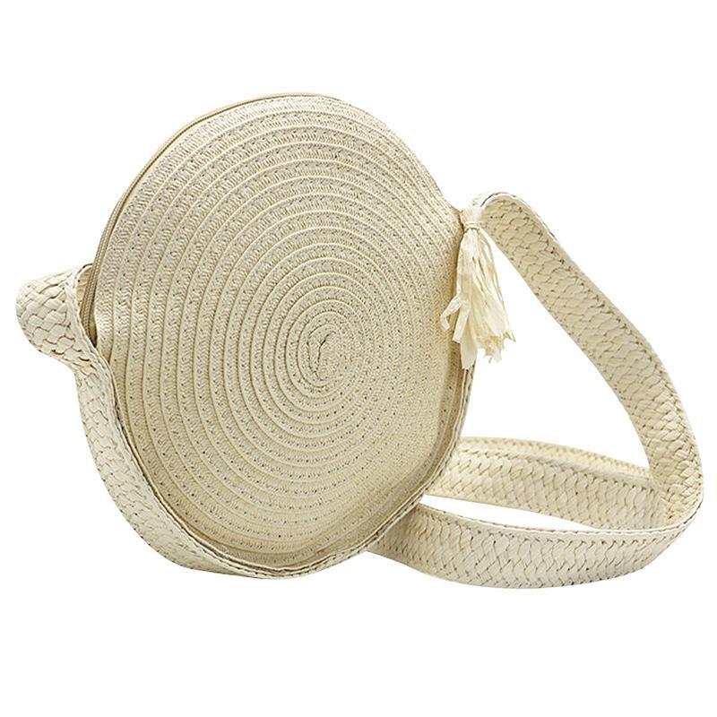 ASDS-Женщины Bohemian Бали Круглых соломы сумка лето пляж Урожай ручного плечо сумка сплетенная круг Портативный Crossbody