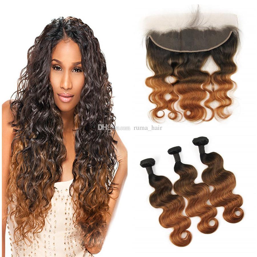 Перуанский волос девственницы соткет Three Тон 1б 4 30 волос Связки с кружевом Фронтальной Закрытие 1b переплетениями-30 человеческих волос