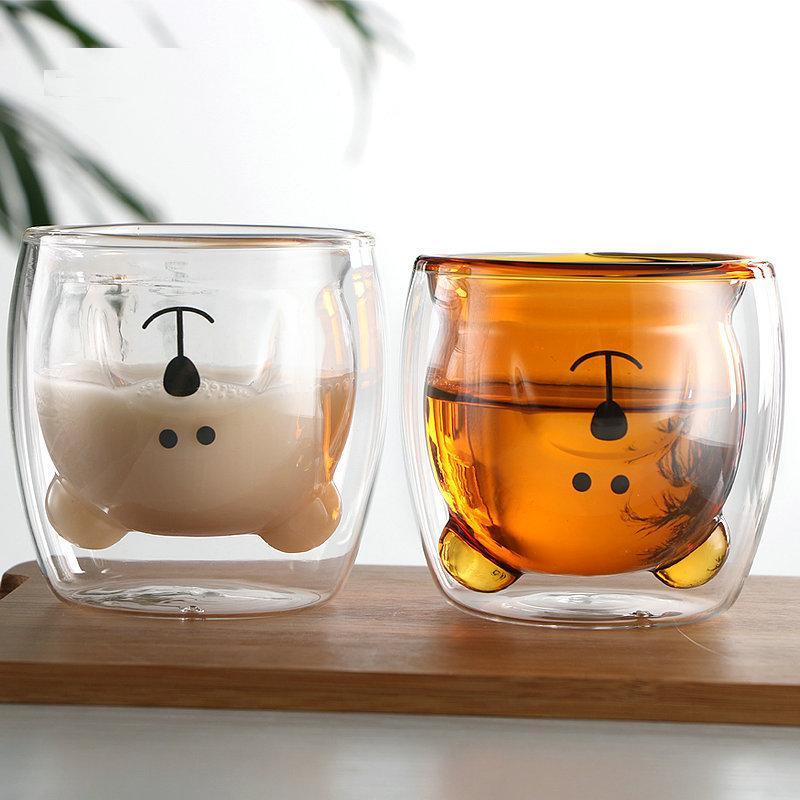 Ins rüzgar ev çift su bardağı ayı kahve cam sevimli hayvan çift kahvaltı süt fincan cam