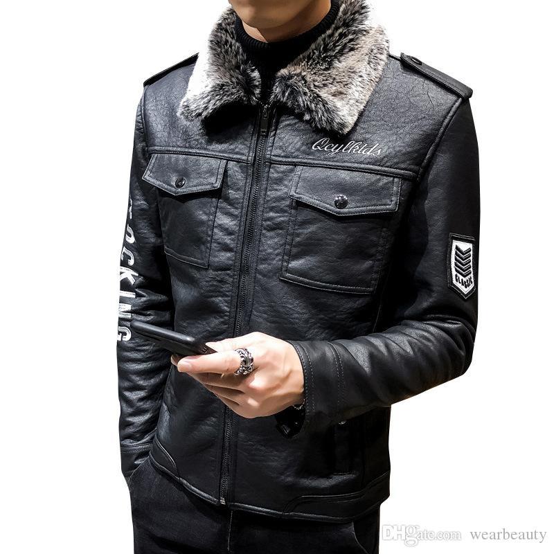 Vestes pour hommes Veste en cuir col de fourrure Thicken Vestes Locomotive Fashon Veste en cuir de vestes pour hommes Vêtements d'extérieur design Grande Taille