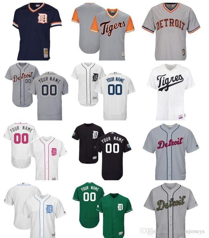 Özel Erkek Bayan Çocuk Detroit Tigers Jersey 00 Herhangi Adınız ve numara Ev Nary Mavi Gri Beyaz Çocuk Kız Beyzbol Jersey hediye