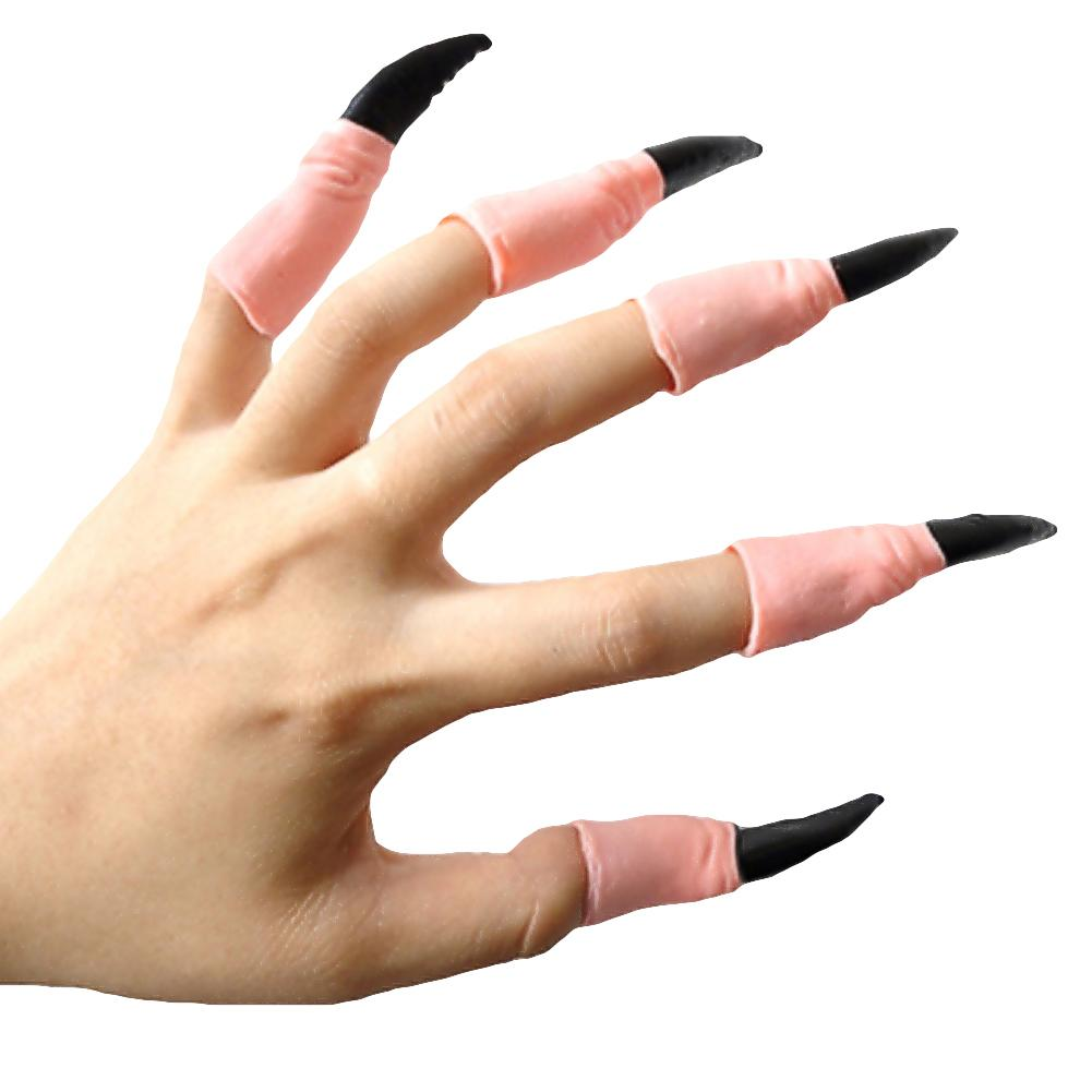 10pcs Adult Fake Fingers Witch Nail Set Cover Horror Halloween Costume Prop HK