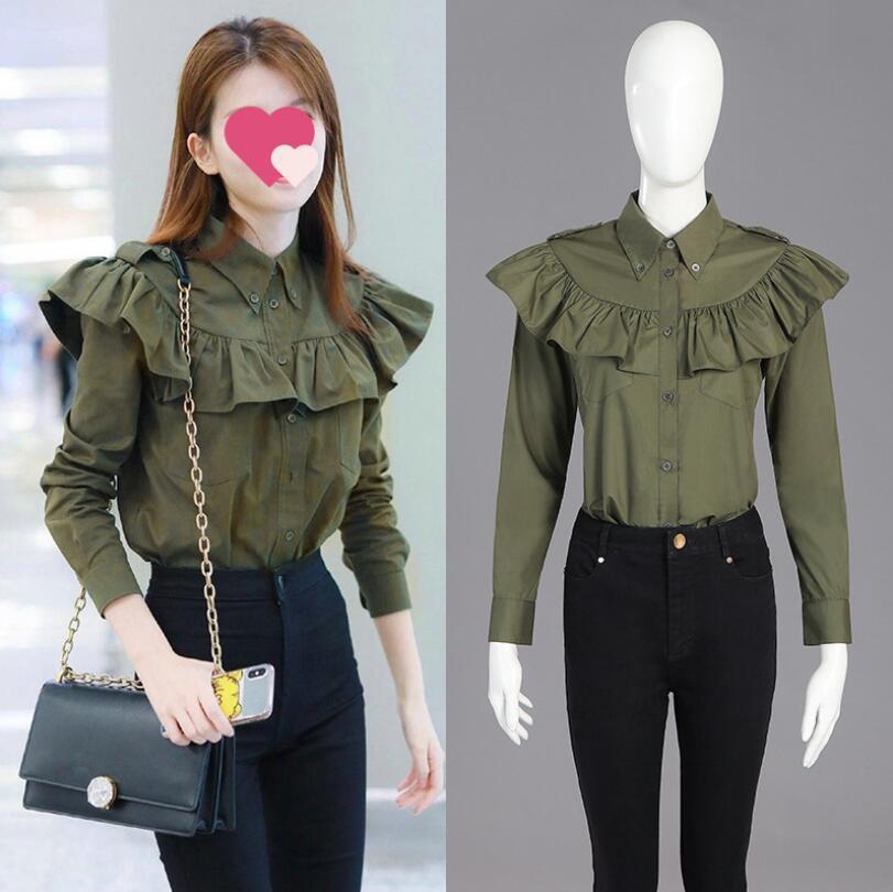 Blusa de abertura de cama de manga comprida Collar Ruffles shirt do Korea 2020 Primavera Outono Mulheres da Moda de Nova Verde elegante Tops W536