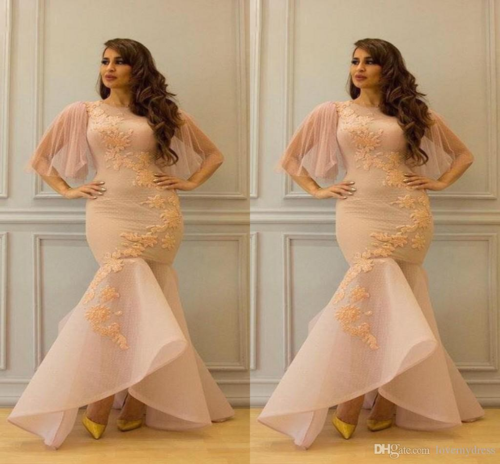 2019 플러스 사이즈 드레스 저녁 착용 줄리엣 짧은 소매 수 놓은 보석 인어 스타일 아프리카 여성 댄스 파티 복장 이브닝 공식적인 가운