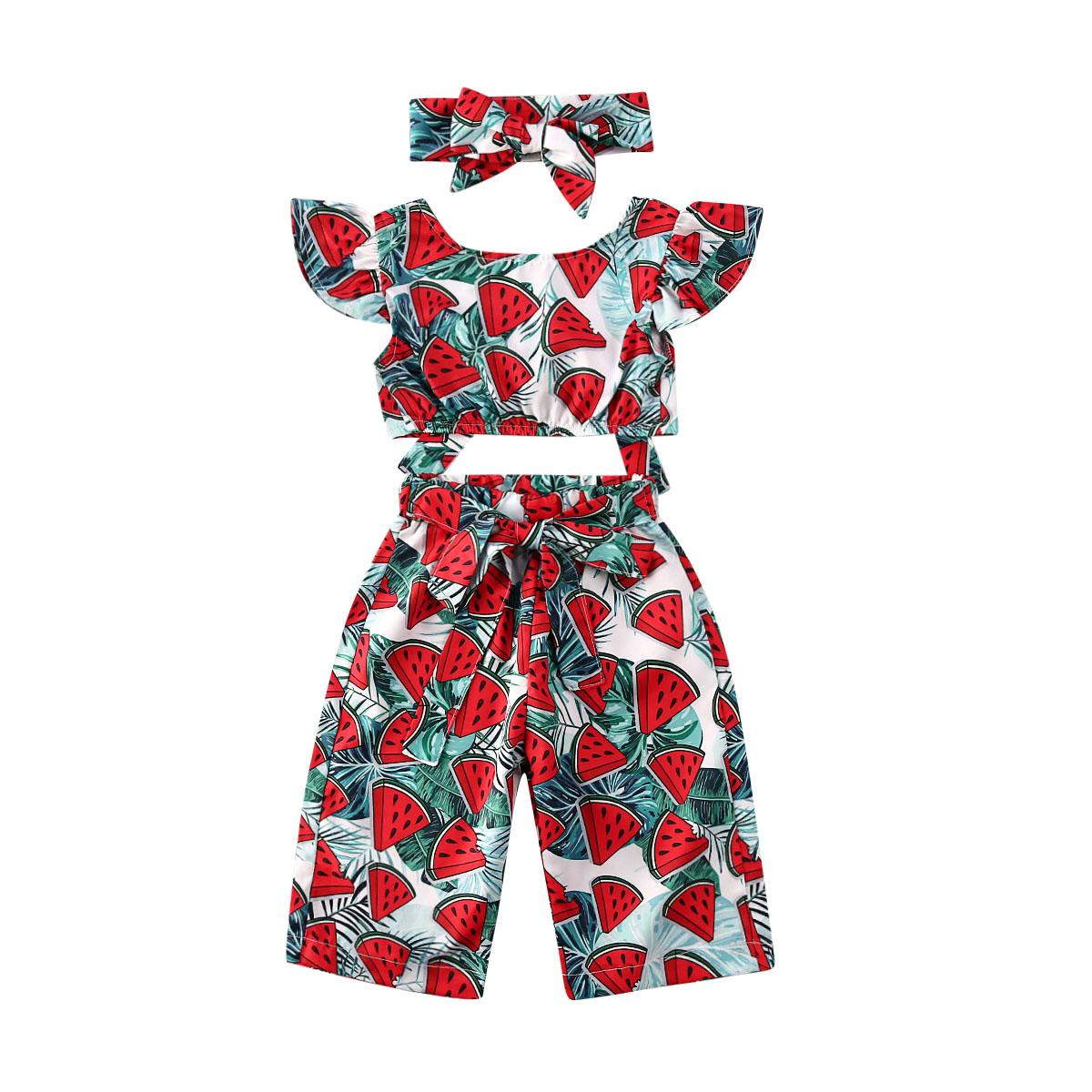 Verão bebê recém-nascido meninas roupa dos miúdos da melancia Tops Calças Headband Outfits Roupa Set