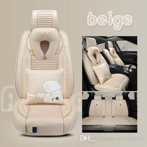 Set Cartoon Universal Fit Seat Cover pour cinq sièges berline Surround design housses de siège de lin durable Set voiture intérieur Accessoires pour SUV