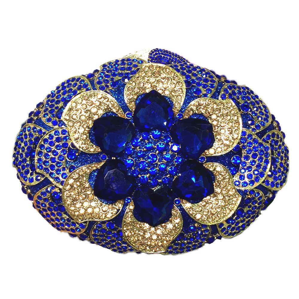 Cristal Atacado Strass Bags Cristal Out Embreagem Noite Metal Hollow Floral Bolsa de Embreagem Bolsa Diamante Saco Jtem