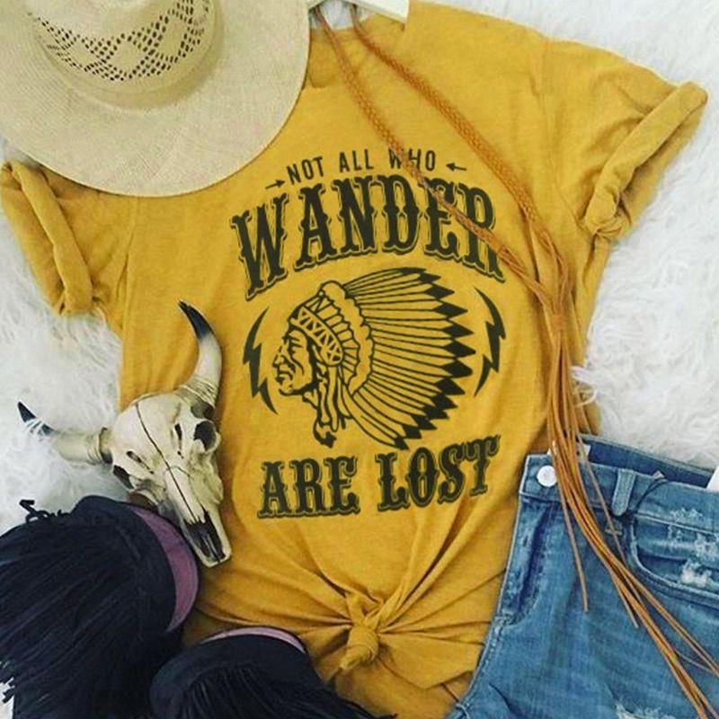 Футболка с коротким рукавом женщин Письмо Character Печать Не все Кто Wander теряются случайные футболки Мода дамы Топы Tee