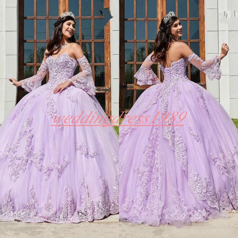 Applique encantador Lila Quinceañera vestidos de encaje balón más el tamaño de 16 tul Prom Party Girl Dress Juniors Vestidos formales por encargo