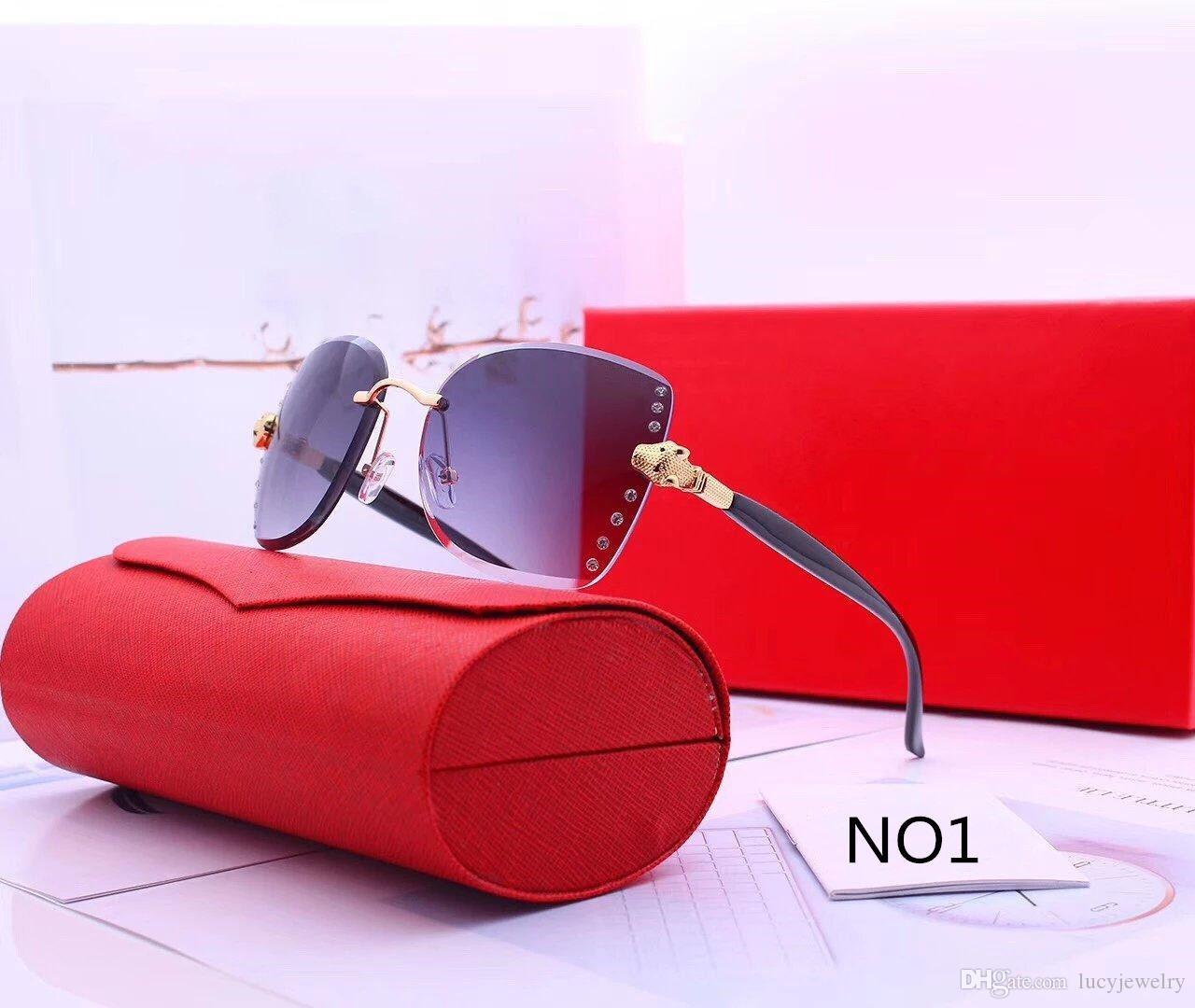 Lunettes de soleil Femmes Lunettes de soleil d'été pour Femme Mode Verres Adumbral 6 Couleur Haute Qualité avec boîte