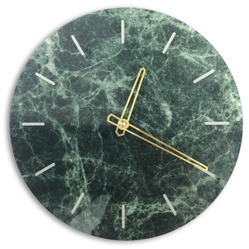 Marmo Nordic Orologio da parete moderna Minimalista Camera Art Clocks personalità creativa Soggiorno vigilanza della parete di moda (verde)