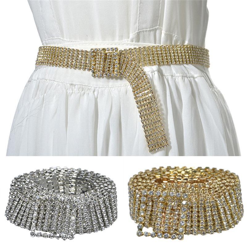 Cinturones para mujeres Moda Lujo Lujo Rhinestone brillante Cintura Cinturones Para Mujer Metal Dorado Vestido de fiesta Cadena de la correa PD30Z