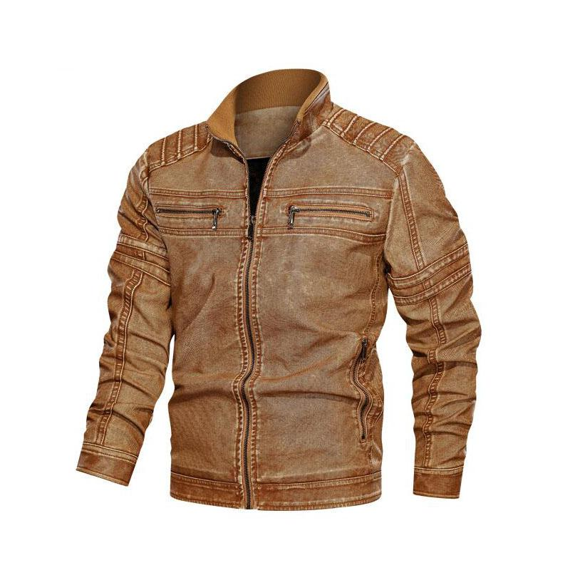 Mens Designer Leather Jackets Fashion PU Vintage Luxury Jacket Casual Zipper Streetwear Leather Jacket with Zipper Size L-6XL Wholesale