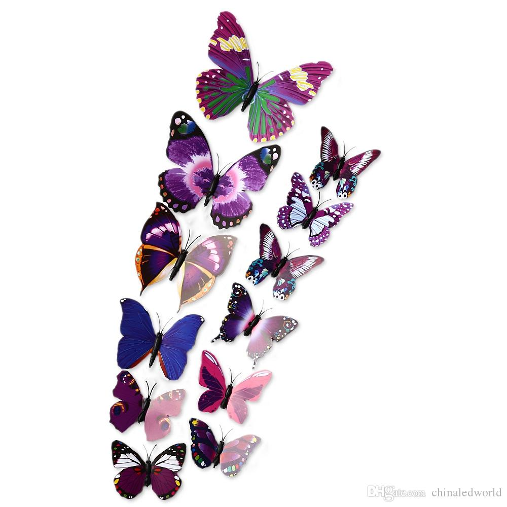 12pcs 3D Butterfly Wall Decor Stickers for Living Room Bedroom Office Decorations