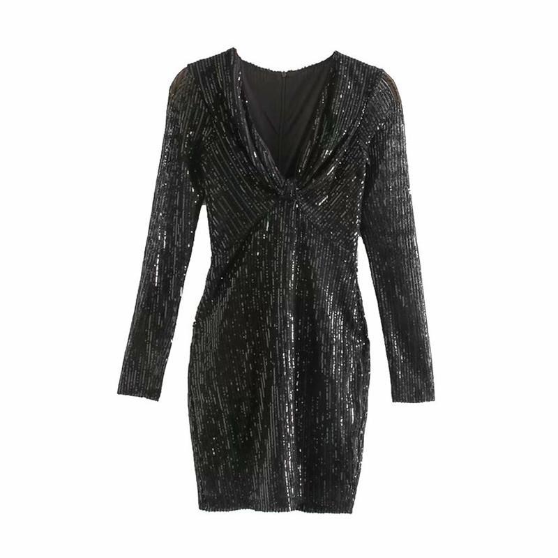 Şık siyah mini elbise Kadınlar derin V boyun uzun esnek kılıf elbise parti kulüp ince seksi elbiseler manşonlu payetli