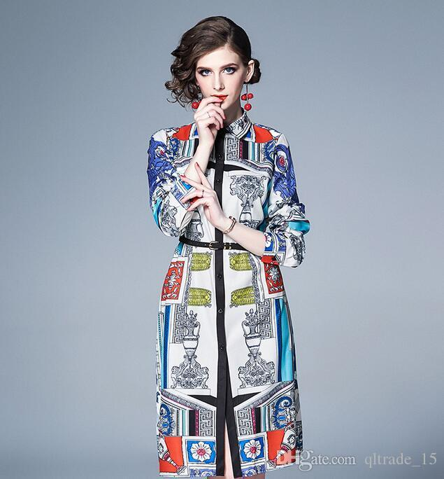 2019 New arrival Scarf Flora printed long sleeve women shirt dresses Lapel neck knee-length Runway dresses