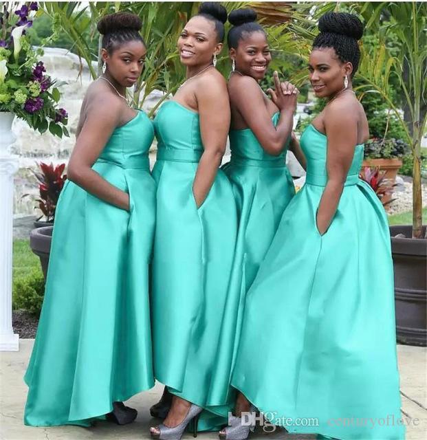 Простые без бретелек Длинных платьев невесты 2019 рукавов черных девушек свадебного платья для гостей с Карманами дешевой африканской горничного честь платье