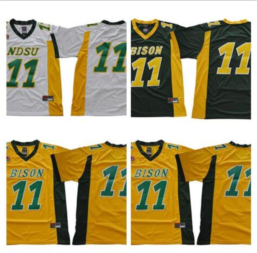 NCAA NDSU Bison College 11 Carson Wentz Jersey Hommes North Carolina Tar Heels Football Maillots UNC Noir Bleu Blanc Vert Jaune faire dropship