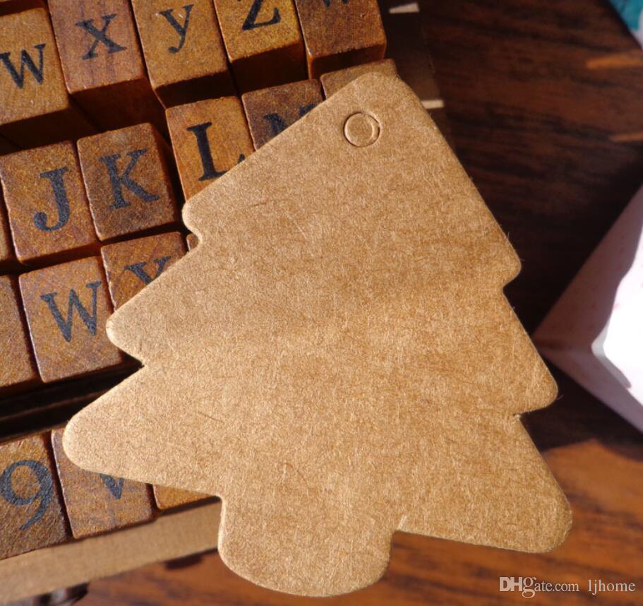100 stücke Weihnachtsbaum Form Label Kraftpapier Vintage Hängen Leere Namensschild Preisschilder Hochzeit Geschenkanhänger
