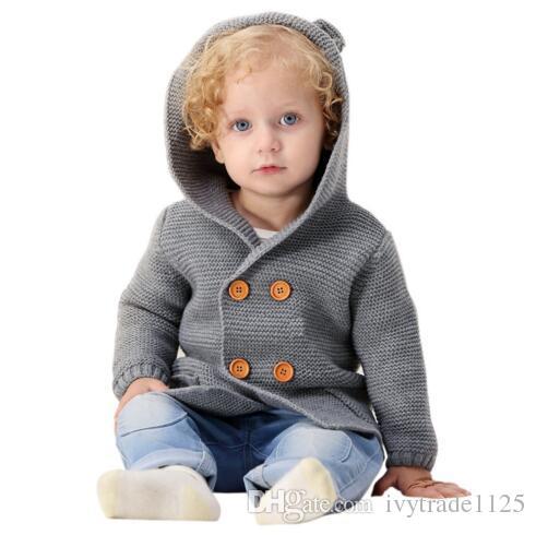 INS bébé vêtements pour enfants pull à capuche manteau avec conception de chien cardigan pull abricot boutons de couleur unie boutons garçon fille printemps automne pull
