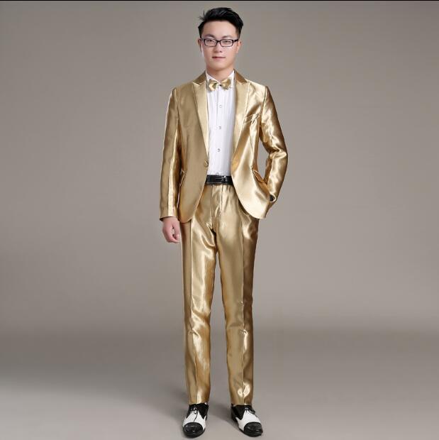 Vestito da uomo casual vestito d'oro vestito coreano giovanile piccolo host costume vestito maschile sottile