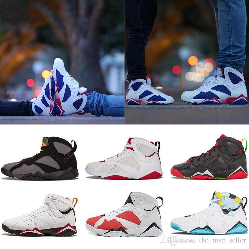 Vente chaude 7 VII 7s Chaussures de basket-ball Femmes Hommes chaussures de basket-ball d'air Zapatos Mujer français rétro bleu GMP Hare B bleu le Martien Les sneakers J7