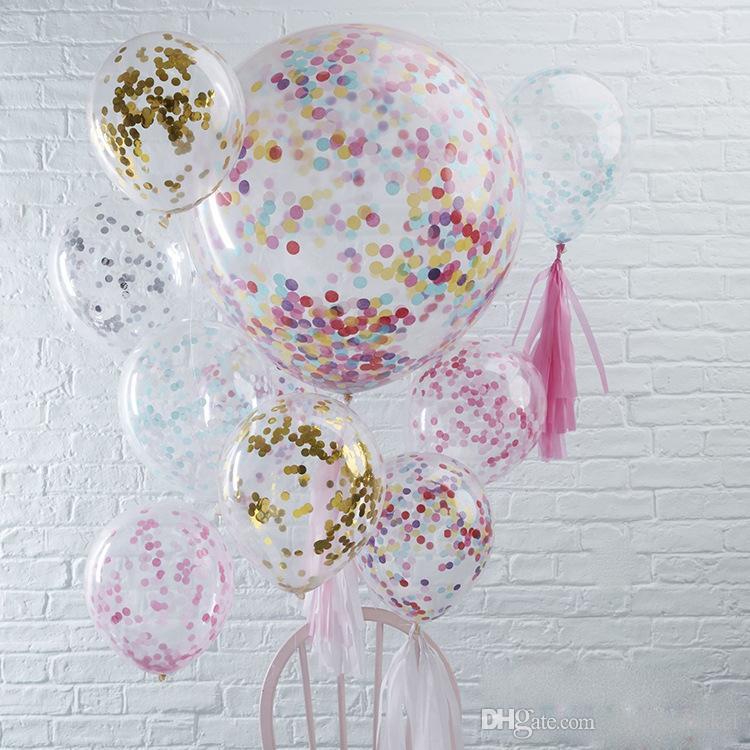 اللوازم 12 بوصة النثار البالونات مجموعة عصا متعدد الألوان مطاط الترتر معبأ واضح بالونات لعب اطفال عيد ميلاد زينة الزفاف