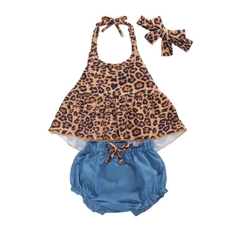 Giyim Setleri 0-24 M Doğan Bebek Kız Giysileri 3 adet Leopar Baskı Kolsuz Kemer Yelek Tops + Mavi Şort Bandı