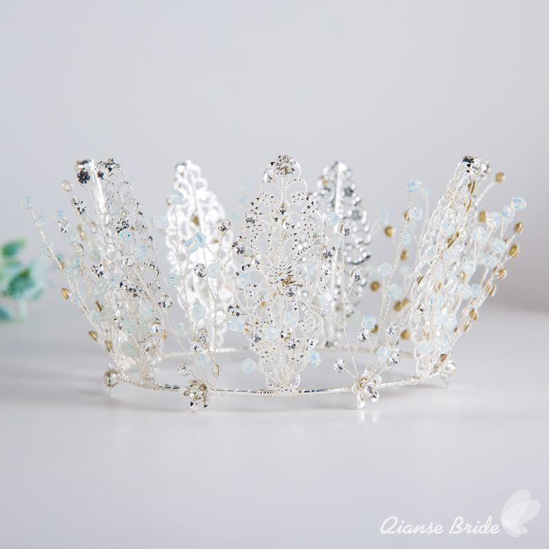 Le donne corona reale di cristallo matrimonio diademi regina corona di rhinestone capelli gioielli retrò argento principessa proms yili