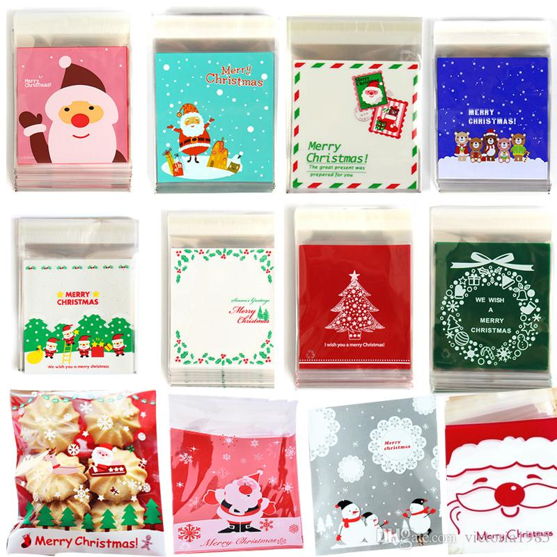 100pcs/lot gift bags Christmas Cookie Biscuits Pastic Bag Packaging Wedding Gift Holders Santa Decoration 10*10cm+3cm