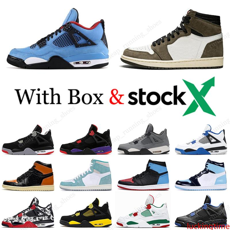 2020 zapatos de baloncesto 4 4s Gato Negro Bred cemento blanco Scotts Travis 1 1s pino verde UNC Shattered tablero trasero del deporte del Mens zapatillas de deporte