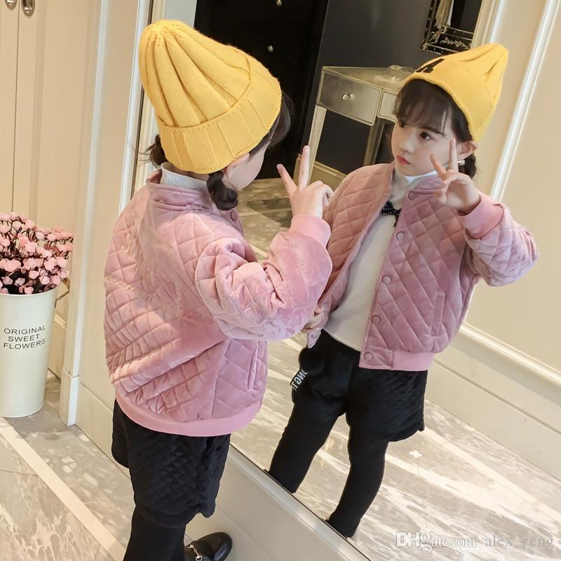 جديد بنات الوردي مصمم سترات الاطفال ملابس الفتاة معطف طويل الأكمام أبلى دافئ الأطفال الملابس الشتوية معطف عارضة