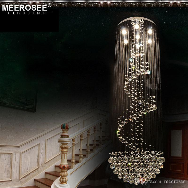 Long Size Crystal Ceiling Light Fixture Modern lustre de cristal light for Lobby, staircase, stairs, foyer cystal Stair Lighting